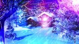 Christmas Snowy Scene Dolly 04 Snowing stock footage