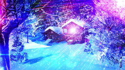 Christmas Snowy Scene dolly 04 snowing Animation
