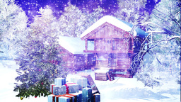 Christmas Snowy Scene 09 snowing Stock Video Footage