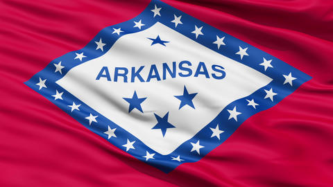 Waving Flag Of The US State Of Arkansas stock footage