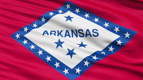 Waving Flag Of The US State Of Arkansas Stock Video Footage