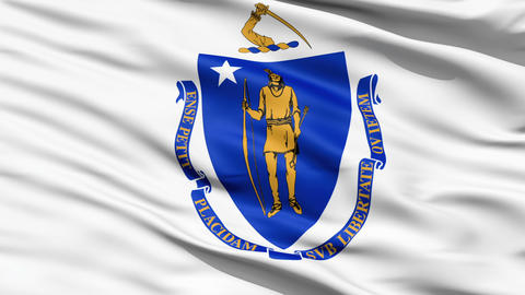 Flag Of The Commonwealth of Massachusetts Stock Video Footage