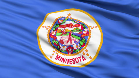 Waving Flag Of The US State of Minnesota Stock Video Footage