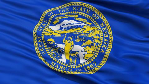Close Up Waving National Flag of Nebraska Animation