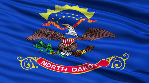 Waving Flag Of The US State of North Dakota Stock Video Footage