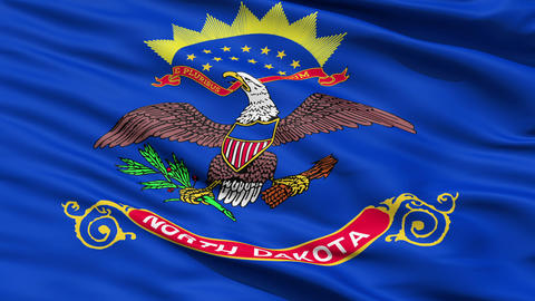 Waving Flag Of The US State of North Dakota Animation
