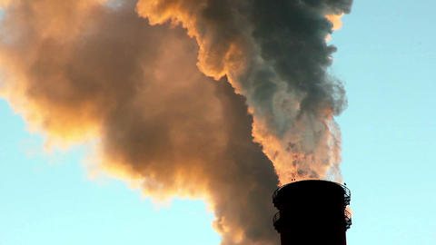 Chimneys Belching Smoke Environmental Pollution Footage