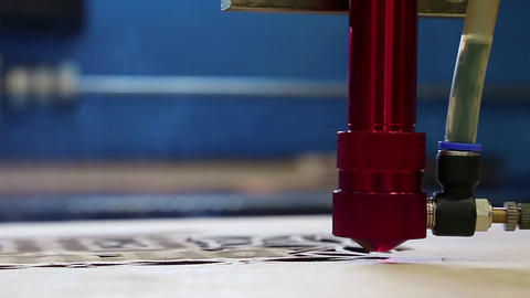 Programmable Laser Installation Cut A Wood stock footage