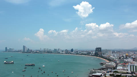 Panorama view of seascape at Pattaya bay, Thailand Footage