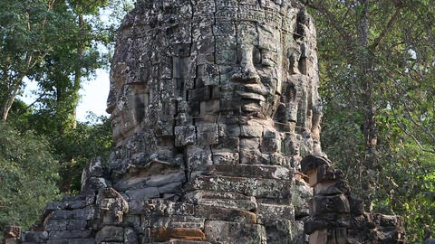 Bas-relief Of The Face On The Ancient Wall In Angkor Thom Temple Complex, Cambod stock footage