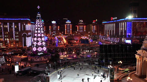 Christmas tree and skating rink Footage