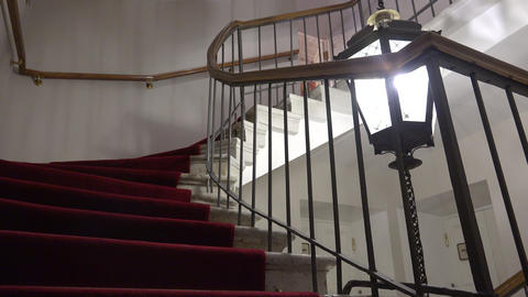 Stairs, floors, lights. 4K Footage