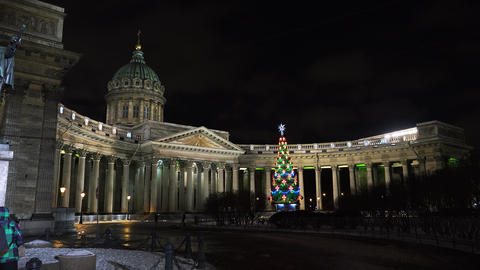 Christmas tree at the Kazan Cathedral in St. Peter Footage