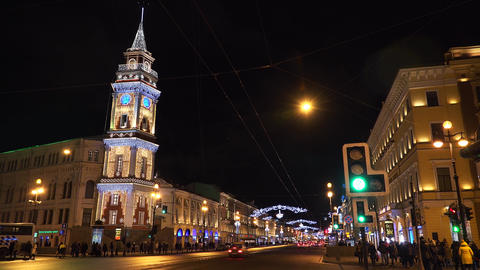 Christmas decorations on the Nevsky Prospekt in St Footage