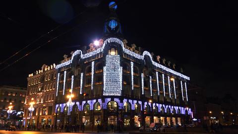 Zinger House in St. Petersburg in Christmas garlan Footage