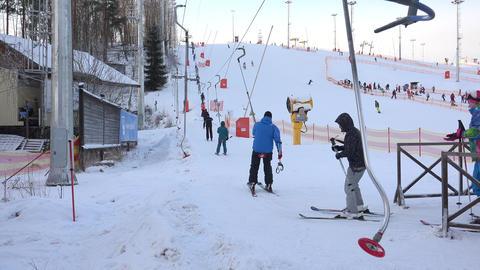 Lift to the ski slopes. 4K Footage