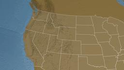Idaho state (USA) extruded. Elevation map Animation