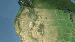 Idaho state (USA) extruded. Satellite map Animation