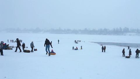 winter tube sledding Footage