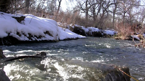 (Seamless Loop) Loop Seamless Snowmelt Stream Flow Live Action
