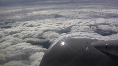 (Seamless Loop) View From Airplane Window Of Engin stock footage