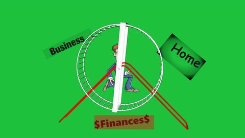 Cartoon Man On Hamster Wheel stock footage