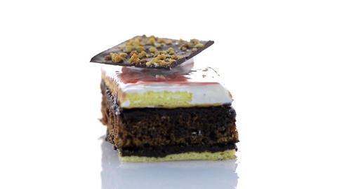 Piece of chocolate cake Footage