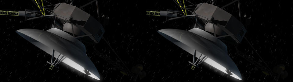 Space Probe Stereoscopic 3D (side by side) Animación
