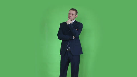 Business Man Thinking Green Screen stock footage