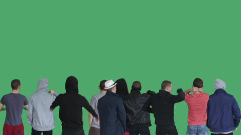 4k group guys protest green screen Footage
