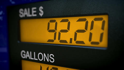 Time lapse closeup of gas pump display in dollars Animation