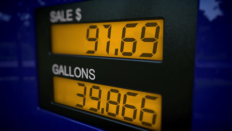 Time lapse gas pump display in dollars Animation