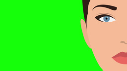 Woman face Flat Design Green Screen Animation