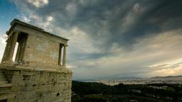 Acropolis Parthenon Site Timelapse Pillars Overcas stock footage