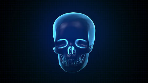 Hitech digital 3 D Animation of Human skull blue Footage