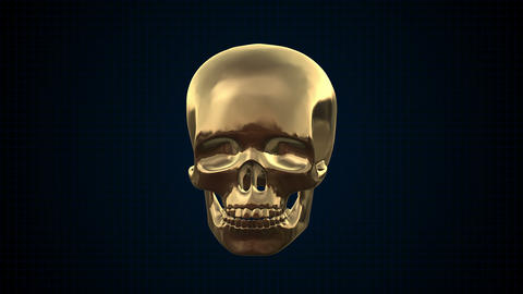 Metal Cyber Human Skull Gold stock footage