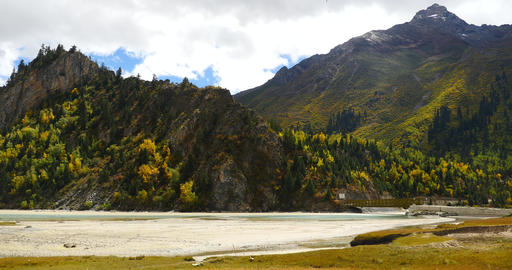 4k Ranwu-lake On The Prairie,clouds Mass Rolling Over Snow Mountains In Tibet stock footage