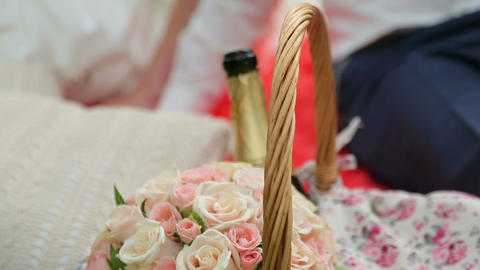Basket Of Flowers, Groom Holding A Glass Of Champa stock footage