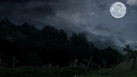 Cemetery during rain at midnight Animation