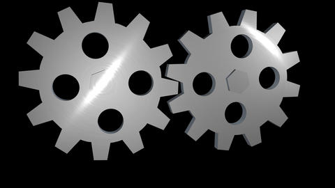 2 gears alpha loop rotating 3D Animation