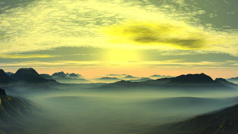 Bright sunrise in the misty mountain valley Animation