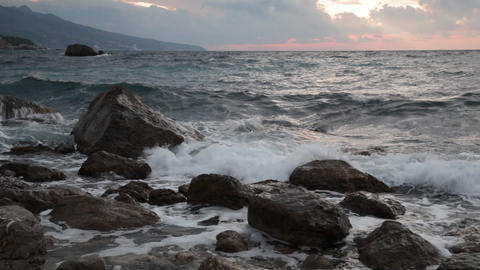 Beautiful Sea Landscape With Waves And Stones At S stock footage