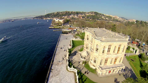 Flying Over KUCUKSU KASRI At Bosphorus Shore stock footage