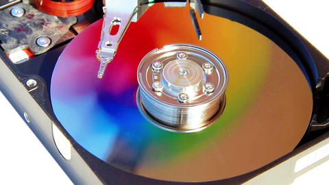 Colors of data in Hard Disk Drive; HDD spin simula Footage