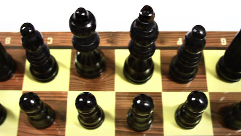 Chess pieces lined up on the first rank Footage