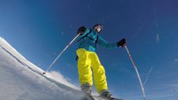 Alpine skier skiing slalom Footage