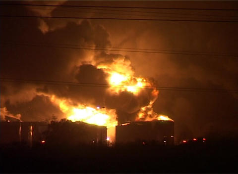 Buncefield Oil Fire stock footage