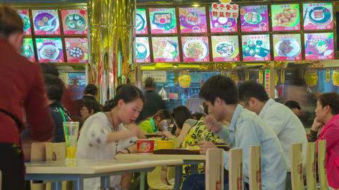 Shanghai fast food timelapse 01 4K Footage