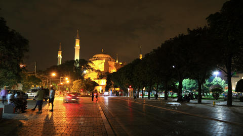 Ayasofya Museum Night Timelapse 4K stock footage