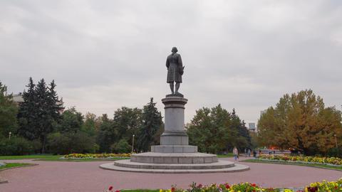 Monument to Lomonosov hyperlapse 4K Footage